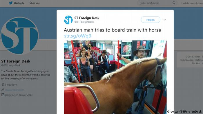 Screen shot of a photograph on Twitter showing the man and the horse on a train /STForeignDesk (twitter/STForeignDesk)