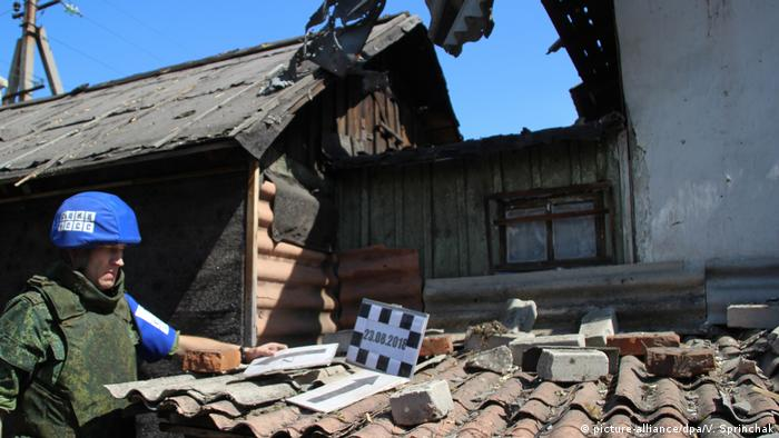 Damage to a house in Lugansk after a shelling attack