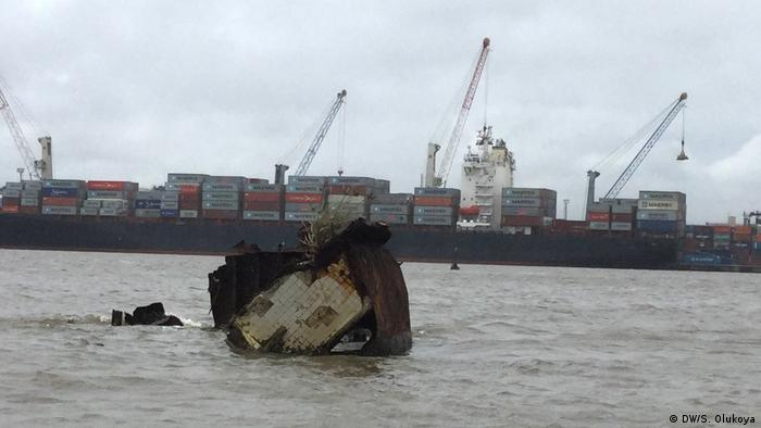 The remains of a shipwreck in the waters off the Nigerian port of Lagos