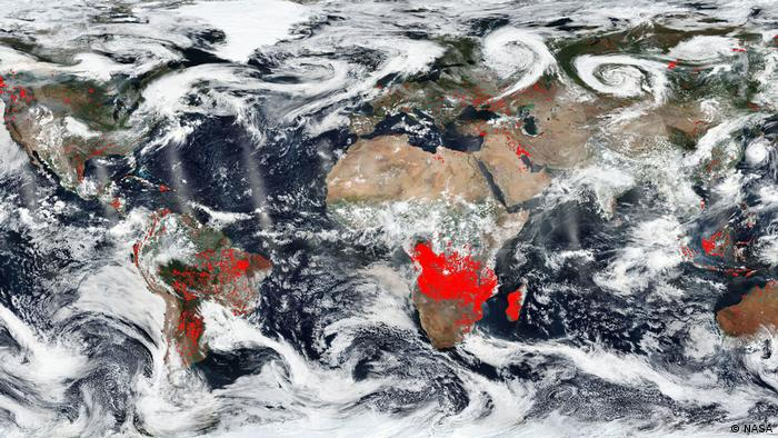 NASA satellite imagery shows a world on fire