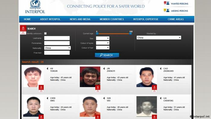 Screenshot Interpol Red Notice gesuchte Kriminelle in China