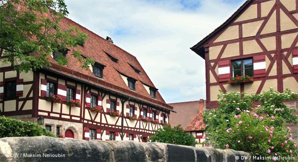 Колодезный дом (справа) и здание секретариата (Sekretariatsgebäude)