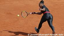FILE - In this May 29, 2018 file photo, Serena Williams of the U.S. returns a shot against Krystyna Pliskova of the Czech Republic during their first round match of the French Open tennis tournament at the Roland Garros stadium in Paris. Serena Williams will no longer be allowed to wear her sleek, figure-hugging catsuit at the French Open. The French Tennis Federation president, Bernard Giudicelli, says the tournament that Williams has won three times is introducing a dress code to regulate players' uniforms because I think that sometimes, we've gone too far. (AP Photo/Michel Euler, File) |