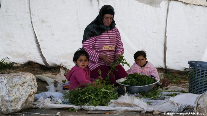 Palestinian woman and children washing edible greens prior to cooking outside their mobile family dwelling near the Israeli settlement of Susya