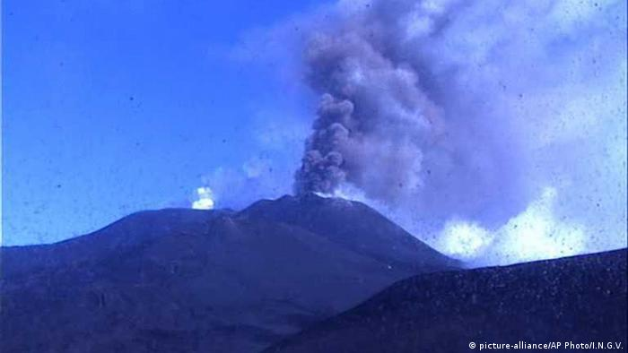 Smoke rises from Mount Etna
