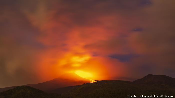 Lava spraying from Mount Etna