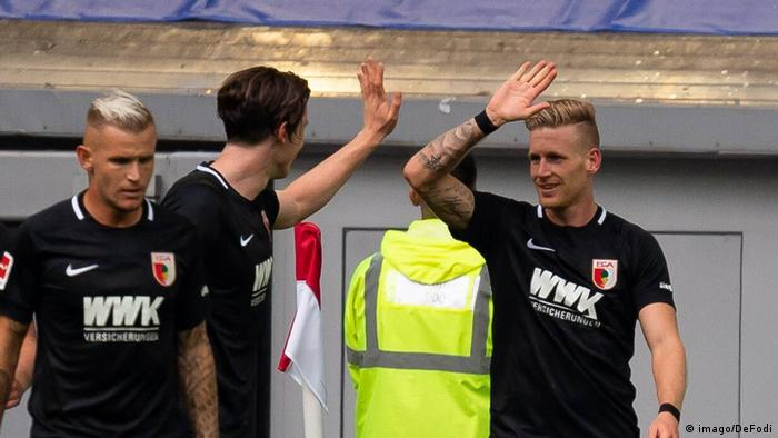 Andre Hahn (right) scored on debut for Augsburg. (imago/DeFodi)