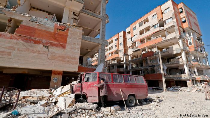 Damage from an earthquake in Iran
