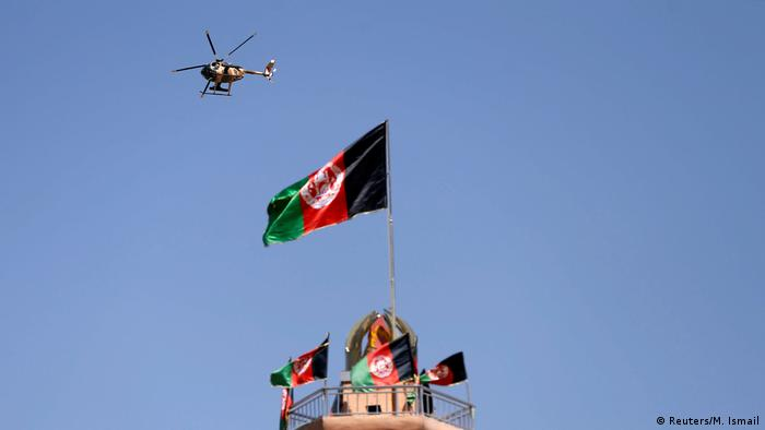 A helicopter flying over Kabul in 2018