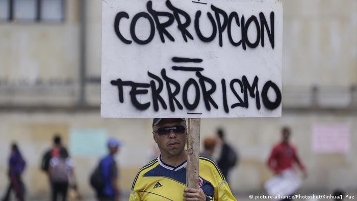 Protesto contra corrupção em Bogotá