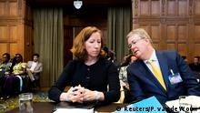 27.08.2018 +++ Jennifer Gillian Newstead, American attorney and professor Donald Earl Childress, counsellor on International Law, United States Department of State, during a hearing for alleged violations of the 1955 Treaty of Amity, Iran vs U.S., sit in the court room of the International Court in The Hague, Netherlands August 27, 2018. REUTERS/Piroschka van de Wouw