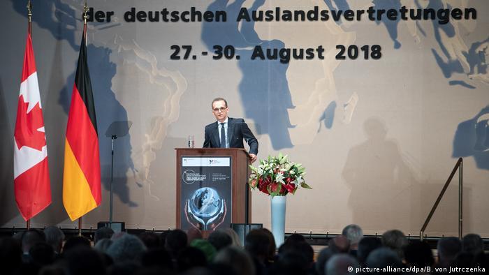Maas speaking in Berlin on Monday