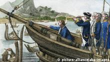 James Cook erreicht Tahiti /C.Mayer 1845 - James Cook reaches Tahiti /C.Mayer 1845 - J. Cook à Tahiti.
