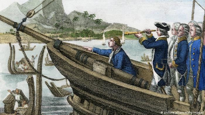 Ilustrasi James Cook tiba di Tahiti, lukisan C. Mayer 1845