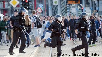 Во время воскресных беспорядков в Хемнице
