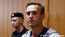 Navalny attends a hearing in August 2018 (Reuters/M. Shemetov)