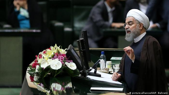 Hassan Rouhani speaks at a parliamentary session