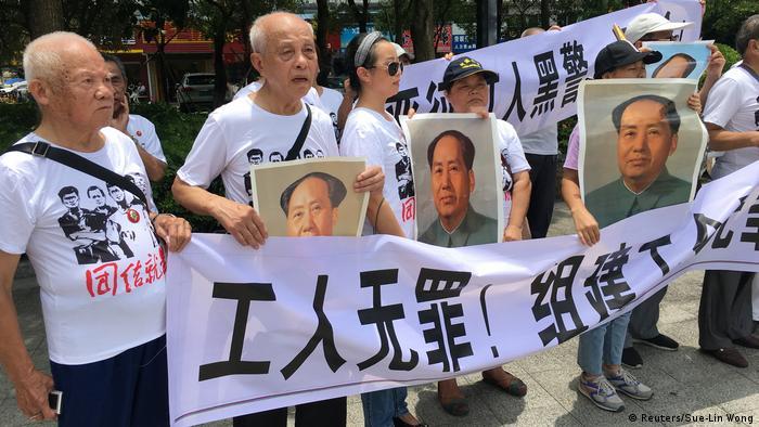 China Demonstration für Arbeiter der Fabrik Jasic Technology