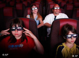 Cinema-goers in 3D glasses