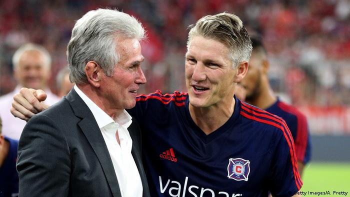 Jupp Heynckes (L), former coach of Muenchen talks to Sebastian Schweinsteiger before the Friendly Match between FC Bayern Muenchen and Chicago Fire at Allianz Arena on August 28, 2018 in Munich, Germany.