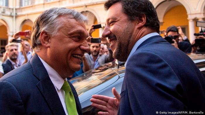 Ministrul de Interne al Italiei, Matteo Salvini şi premierul ungar, Viktor Orban, la Milano
