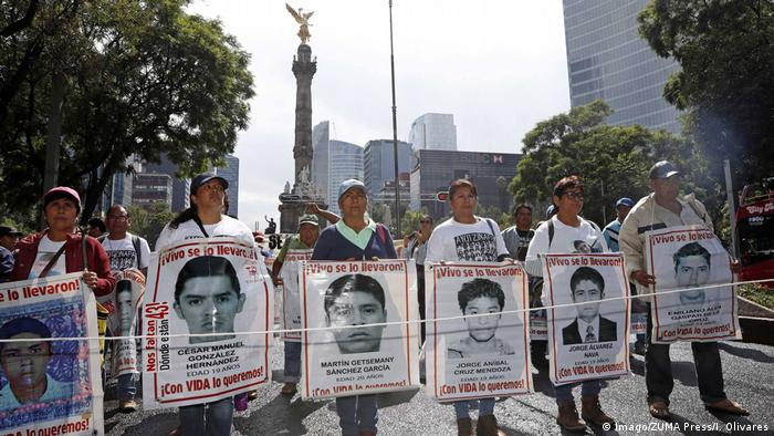 A demonstration in Mexico City for the missing students in Iguala