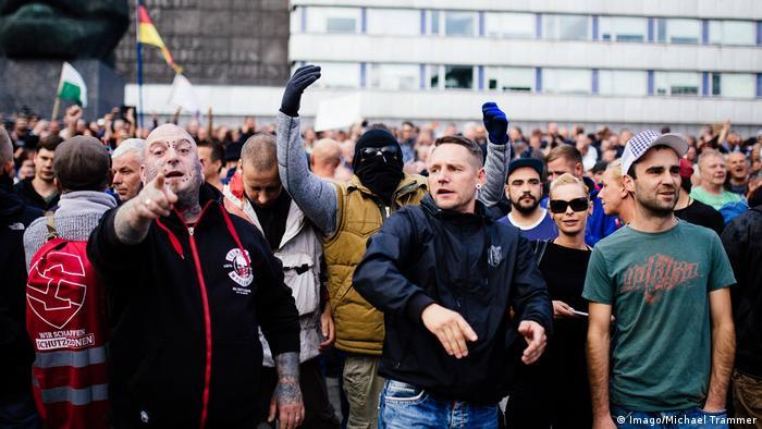 مظاهرة لأتباع اليمين المتطرف في كيمنيتس في آب/ أغسطس 2018