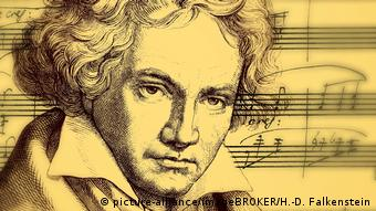 Drawing of Ludwig van Beethoven before the backdrop of musical notation