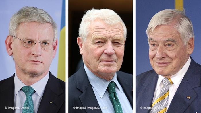 Kombobild - Carl Bildt, Paddy Ashdown und Christian Schwarz Schilling