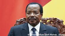 FILE - In this Thursday, March 22, 2018 file photo, Cameroon President Paul Biya is seated with Chinese President Xi Jinping as they attend a signing ceremony at the Great Hall Of The People in Beijing. Cameroon's president, one of Africa's longest-serving leaders, says on Friday, July 13, 2018 he will run again in October's election. The 85-year-old president has been in power since 1982. He oversees an increasingly restive Central African nation that faces an Anglophone separatist movement and the threat from Boko Haram extremists crossing the border from Nigeria. (Lintao Zhang/Pool Photo via AP, File) |