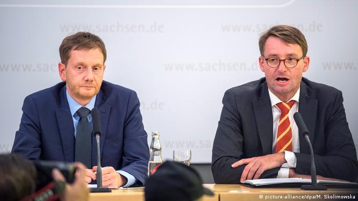 Kabinetts-Pressekonferenz mit Michael Kretschmer und Roland Wöller (picture-alliance/dpa/M. Skolimowska)