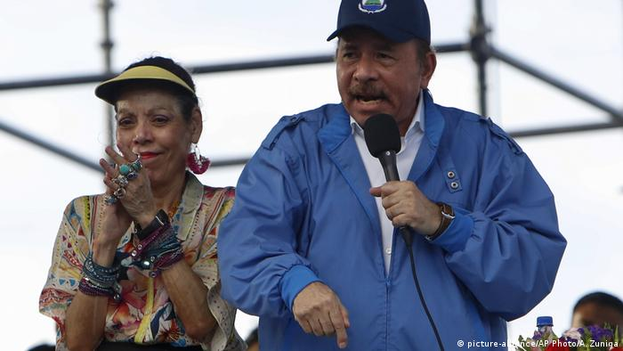 President Daniel Ortega with his wife and Vice President Rosario Murillo