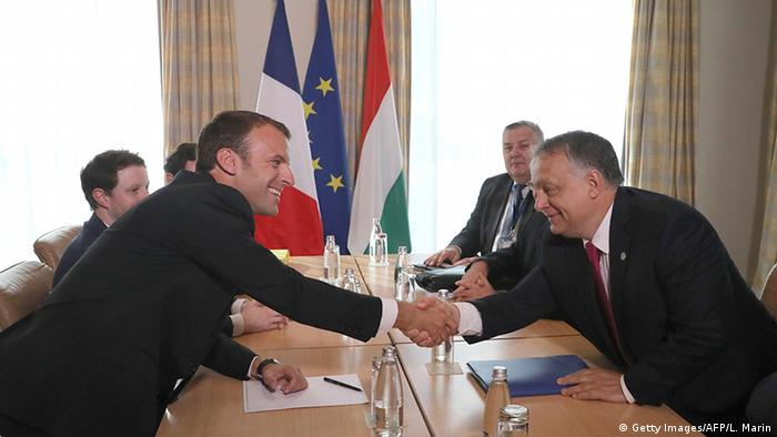 Emmanuel Macron and Viktor Orban at the EU summit in Sofia