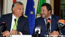 Italians Innenminister Matteo Salvini trifft den ungarischen Premierminister Viktor Orban in Mailand