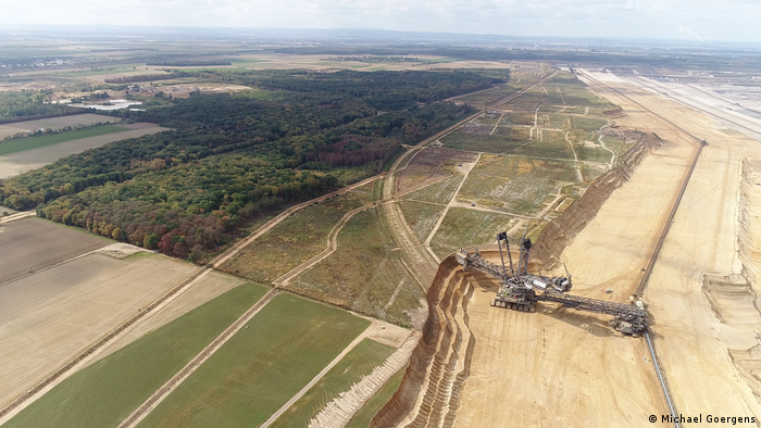 Aerial view of RWE coal mine showing Hambach forest