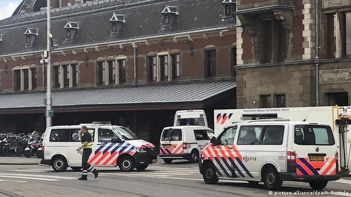 Police cars outside Amsterdam's Central Station
