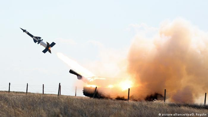 A missile is fired from an S-400 anti-aircraft system