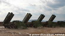FEODOSIYA, CRIMEA, RUSSIA - JANUARY 14, 2017: S-400 Triumf medium-range and long-range surface-to-air missile systems at the base of the Russian Southern Military District's air defence missile regiment. The regiment's personnel underwent re-training and held missile test launches as part of the Caucasus 2016 strategic drills. Alexei Pavlishak/TASS |