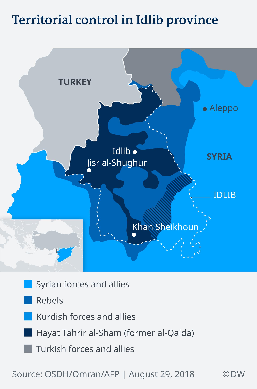 Infografik Karte Streitkräfte im Idlib-Region Syrien EN