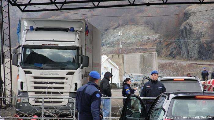 A truck with aid from Russia at the border between Kosovo and Serbia