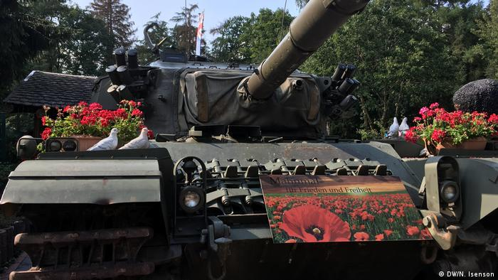 A tank on show as a monument to peace