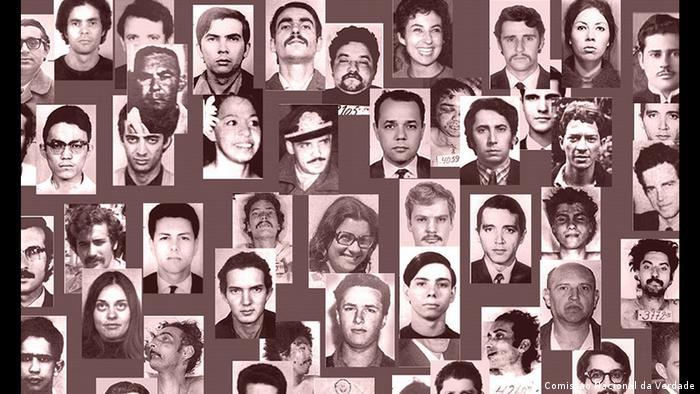 Colagem de fotos de vítimas da ditadura militar no Brasil (1964-1985)