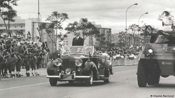 Tank and military driving past in a procession in Brazil