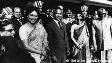 President Ziaur Rahman, of the People's Republic of Bangladesh with President Mr Sanjiva Reddy, Mrs Reddy (extreme left) and Indian Prime Minister, Mrs Indira Gandhi, on his arrival in New Delhi. (Photo by Keystone/Getty Images)