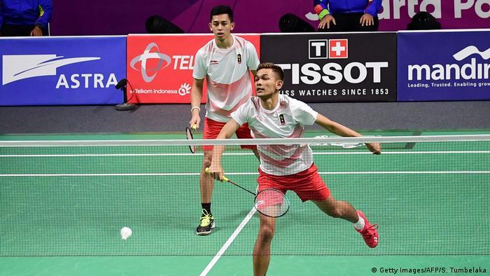 Jakarta 18. Asian Games 2018 BADMINTON Marcus Fernaldi Gideon Kevin Sanjaya Sukamuljo (Getty Images/AFP/S. Tumbelaka)