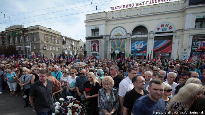 Trauer um getöteten Separatistenführer Sachartschenko in der Ostukraine