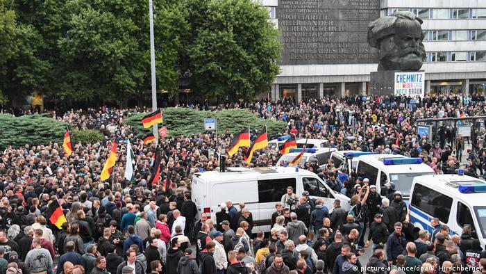Right wing demonstrators in Chemnitz