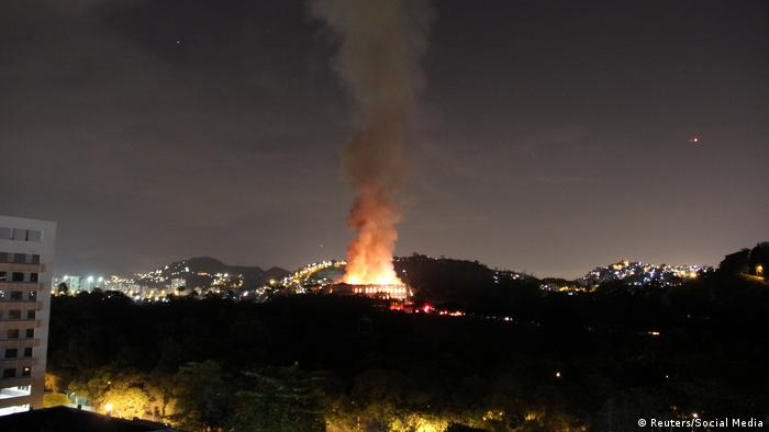 The fire seen from across the city.