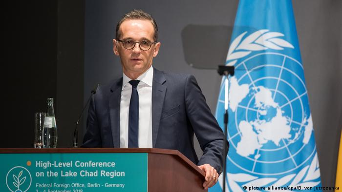 Heiko Maas during the opening of the Lake Chad conference in Germany
