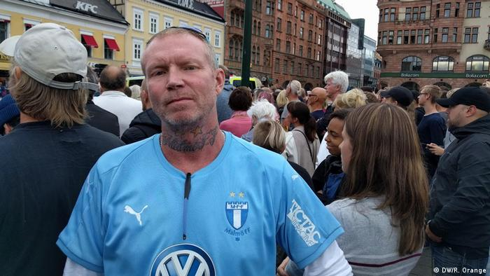 A Sweden Democrats supporter at a rally